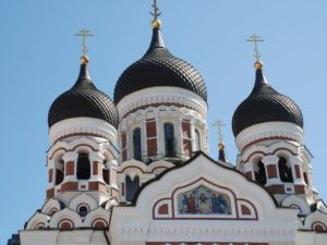 The façade of the Alexander Nevsky Cathedral