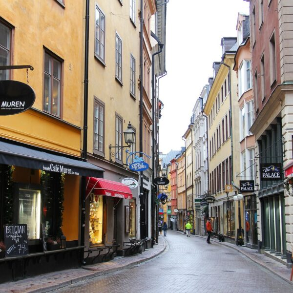 Narrow street with little shops in the Old Town Gamla Stan