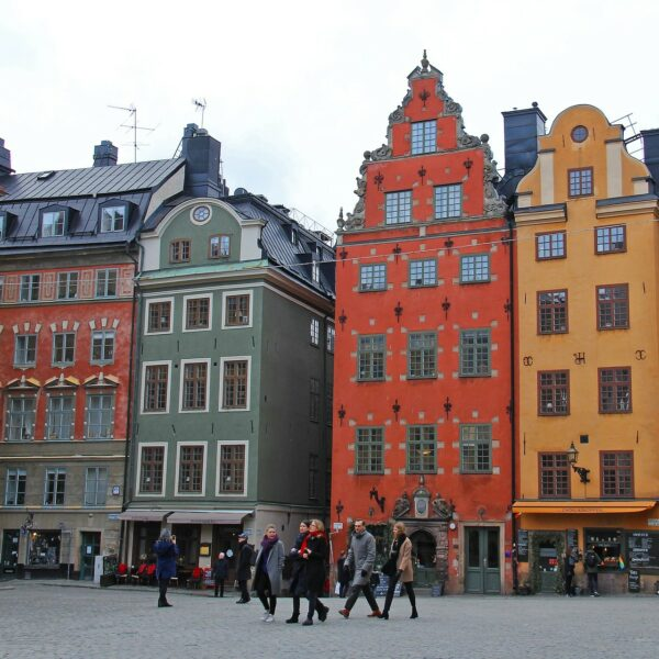 Colorful merchants' houses on the main square Stotorget in Gamla Stan