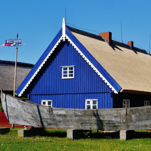 Blue house in the fishing village Nida