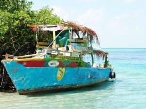 Colourful boat on Caye Caulker
